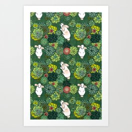 Rabbits in a Succulent Garden Art Print