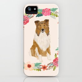 rough collie floral wreath dog breed pet portrait pure breed dog lovers iPhone Case