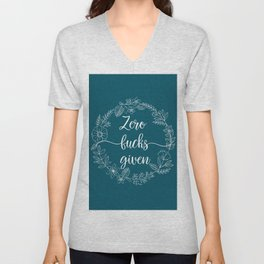 ZERO FUCKS GIVEN - Sweary Floral Wreath Unisex V-Neck