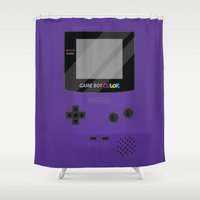 gameboy Shower Curtains featuring Gameboy Color - Purple by katy-makes-things