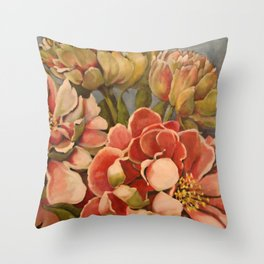 Peonies in Pink Throw Pillow