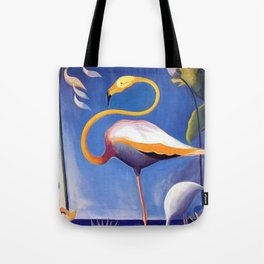 Flamingo and Egret with Lilies and Calla Lilies by Joseph Stella Tote Bag