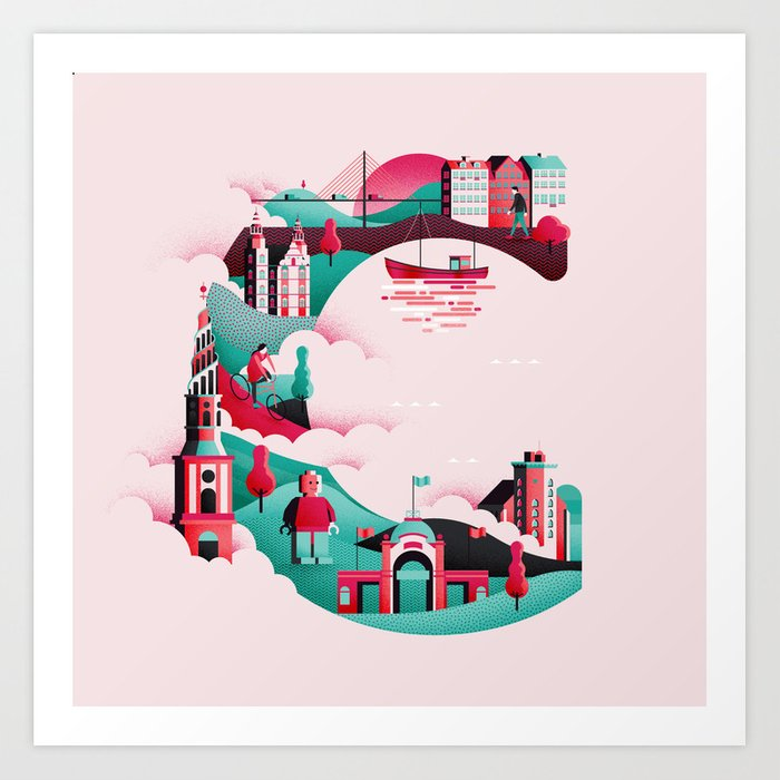 Wanderlust Alphabet – C is for Copenhagen Art Print