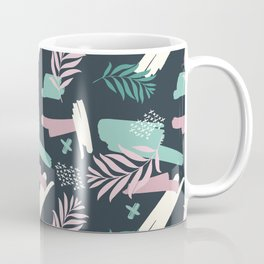 Abstract blue pink white teal brushstrokes floral Coffee Mug