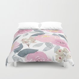 Flowers in Pink Duvet Cover