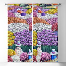 Pearl of the Andes Mountains - Valley of Starry Ranunculus Blossoms and Flower Sellers Blackout Curtain