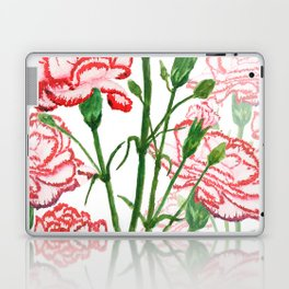 pink and red carnation watercolor painting Laptop & iPad Skin