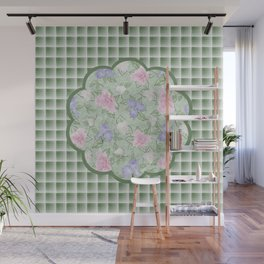 Flower Play Antique Pink Lavender on Green Plaid Wall Mural