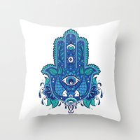 hamsa Throw Pillows featuring Hamsa by Miss ChatZ
