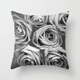 BW Roses Throw Pillow