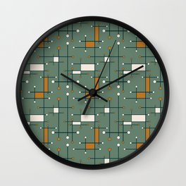 Intersecting Lines in Olive Green and Orange Wall Clock