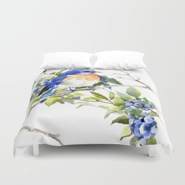 Bluebird and Blueberry Duvet Cover