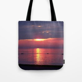 Holes in the Clouds, sunset on the water Tote Bag