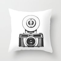vintage camera Throw Pillows featuring Camera by danielrafalski