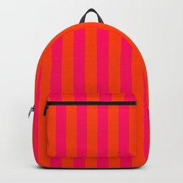 Orange Pop and Hot Neon Pink Vertical Stripes Backpack