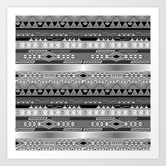 Ethnic stripes. Tribal pattern Indians. Art Print