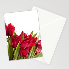 Red tulips bouquet sprinkled Stationery Cards