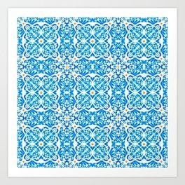 Tangerine and Blue Deco Pattern Art Print