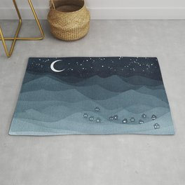 Moon over the mountains, landscape, indigo night Rug