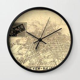 Map Of Kalamazoo 1908 Wall Clock
