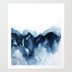 Abstract Indigo Mountains Art Print