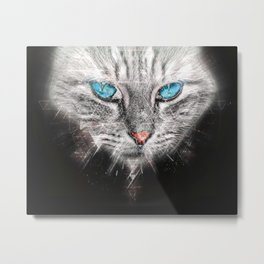 Silver Abstract Cat Face with blue Eyes Metal Print