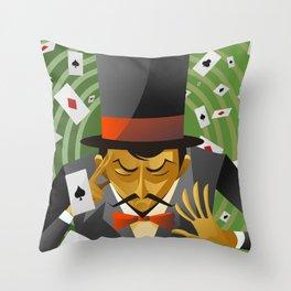 top hat magician poker cards magic trick Throw Pillow