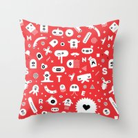 monsters Throw Pillows featuring Monsters by Vickn