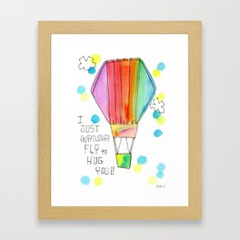Just Wanna Fly hot air balloon illustration nursery decor kids room watercolor painting Framed Art Print