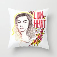 allison argent Throw Pillows featuring Queen Argent by Grit Spit and a Whole Lot of Duct tape