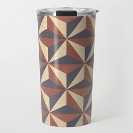 Brown, Tan and Black Geometric Pattern Travel Mug