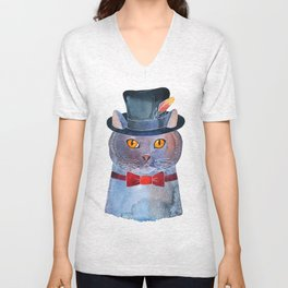 Lilac Cat In The Hat Unisex V-Neck