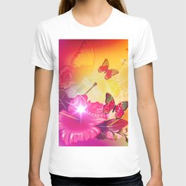Awesome colorful flowers and butterfly T-shirt