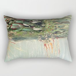 Green Algae - Mixed Media Ceramic Pebeo Glass Beads Abstract Modern Fine Art, 2015  Rectangular Pillow