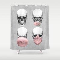 bubblegum Shower Curtains featuring Skulls chewing bubblegum by Piotr Burdan