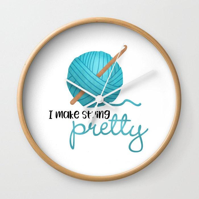 I Make String Pretty Crochet Hook And Yarn Wall Clock By Avenger