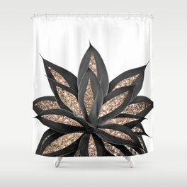 Gray Black Agave with Gold Glitter #2 #shiny #tropical #decor #art #society6 Shower Curtain