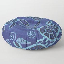 Aboriginal Art Authentic - Sea Turtles Floor Pillow