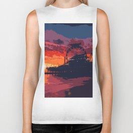 Sunset in Santa Monica, California Biker Tank