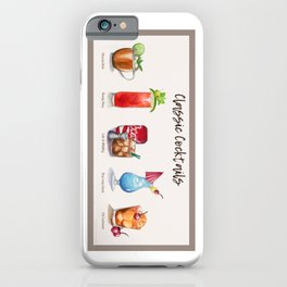Classic Cocktails Menu watercolor painting iPhone Case