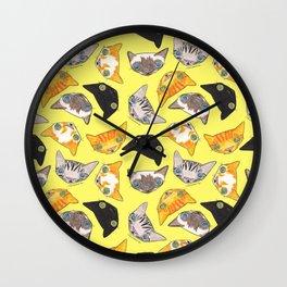 """""""Oro?"""" Cats-Canary Yellow Wall Clock"""