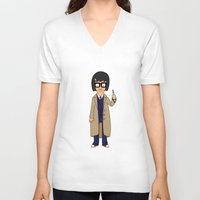tina crespo V-neck T-shirts featuring Doctor Tina, Time Lord by GrahamBailey