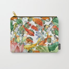 Koi Fish Pond With Large Lotus Flowers Leaves Watercolor Painting Chinese Style Carry-All Pouch