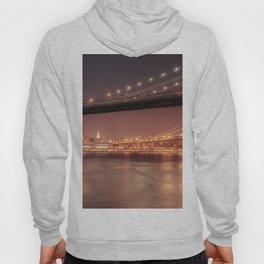 Empire State Building and Manhattan Bridge - New York City Nights Hoody