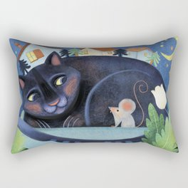 Mother cat and the little mouse Rectangular Pillow