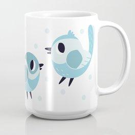 Happy Blue Birds Pattern Coffee Mug