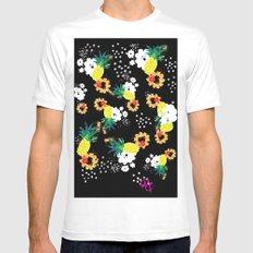 Floral Pineapple Punch DARK White Mens Fitted Tee MEDIUM