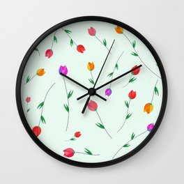 Pattern of tulips. Tulips scattered on the web Wall Clock