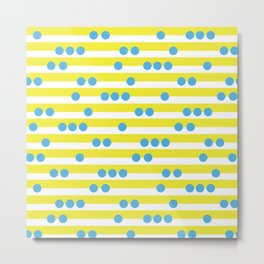 Spotty Stripe Yellow & Cyan Metal Print