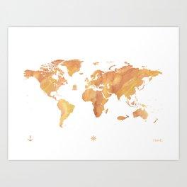 World map stone color Art Print